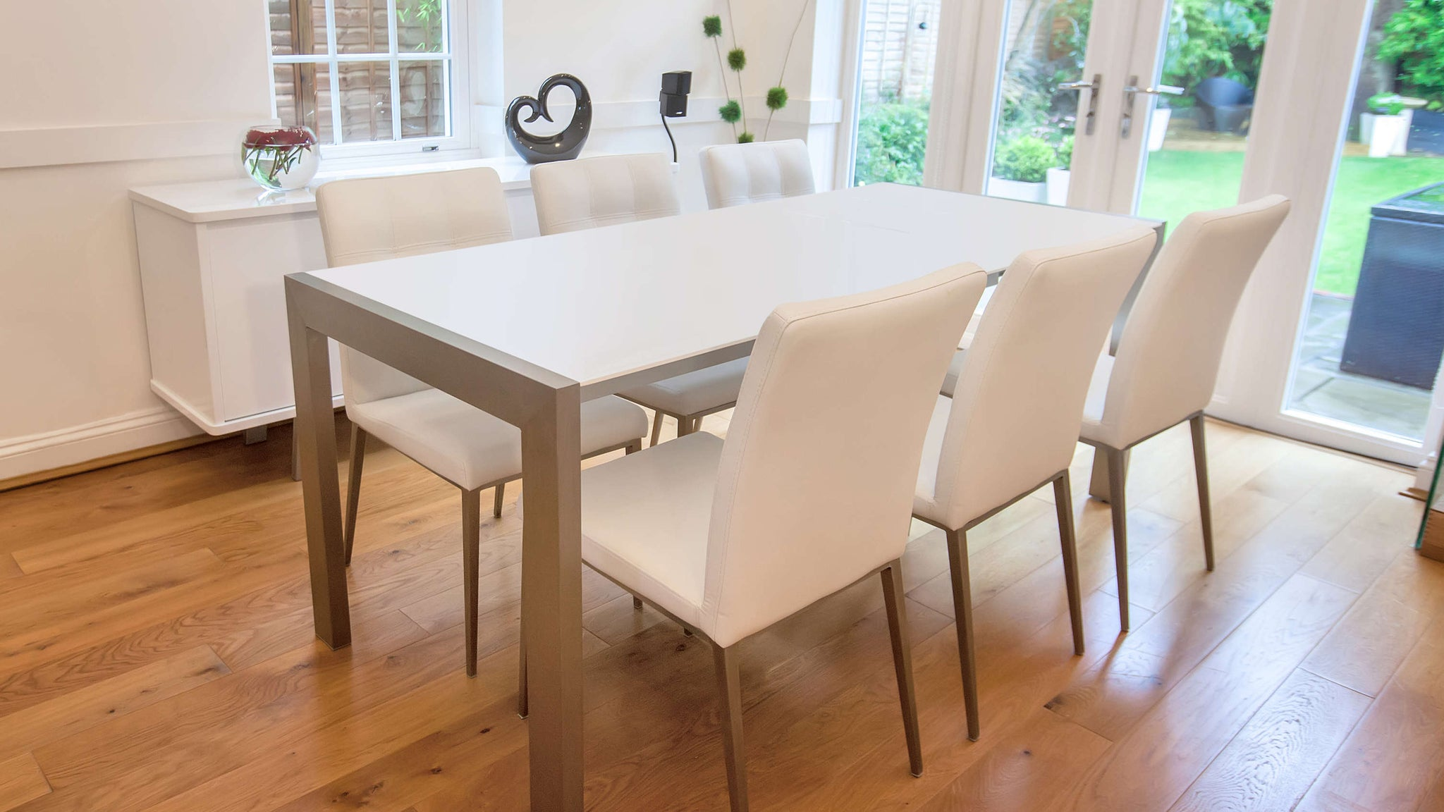 Large Matt White Dining Table and White Dining Chairs