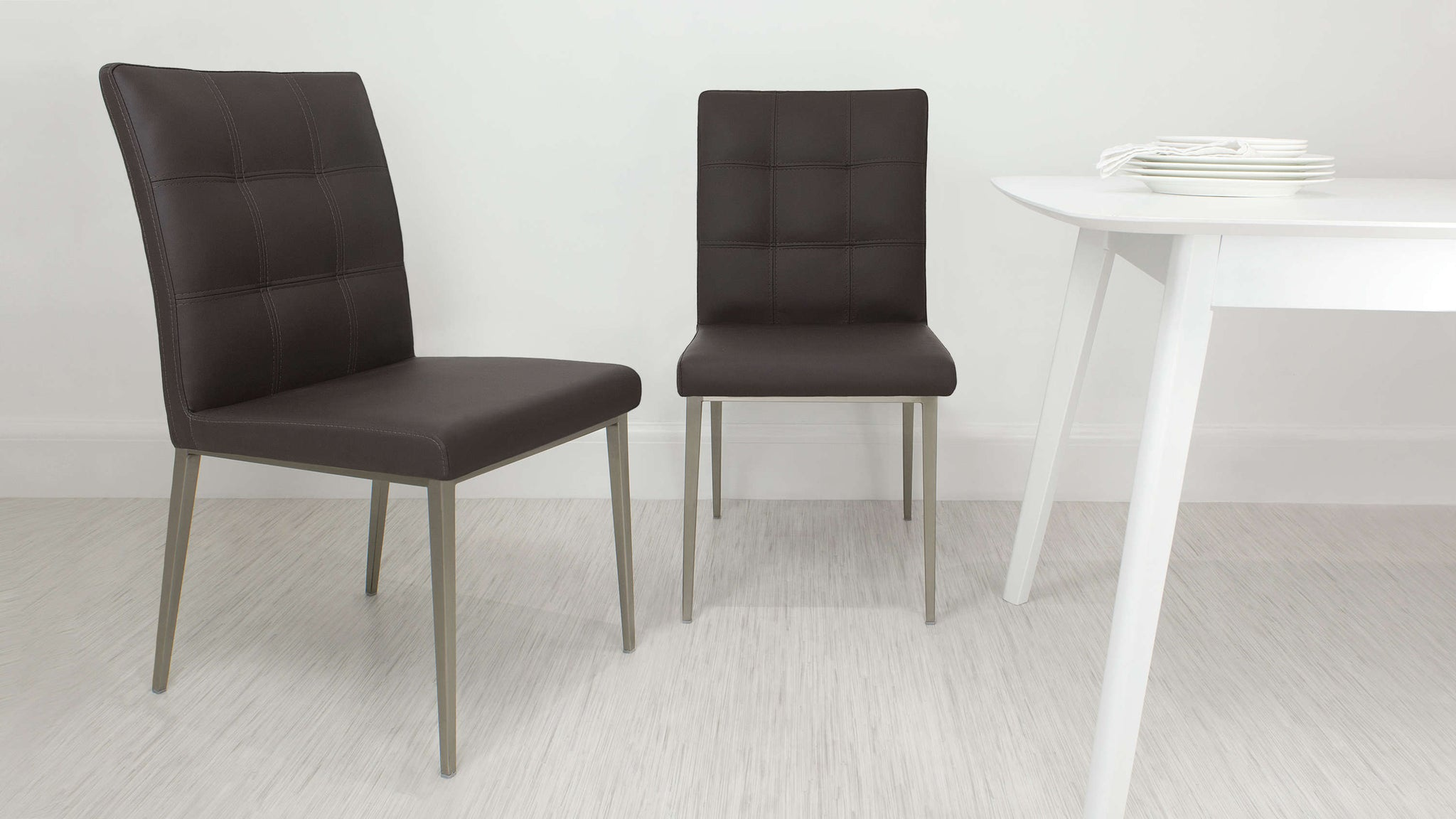 Modern Brown Padded Dining Chair