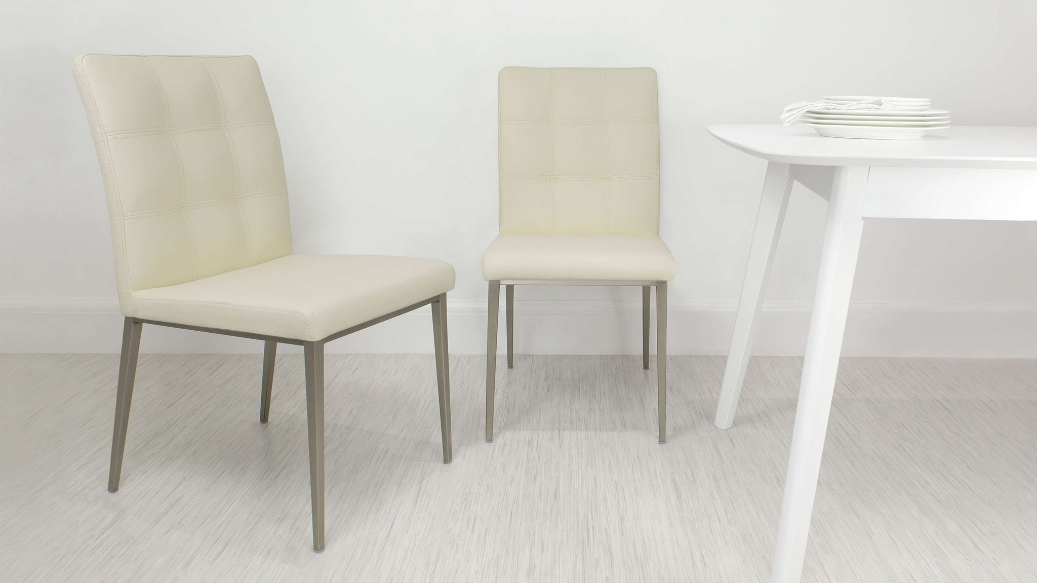 Modern Cream Padded Dining Chair