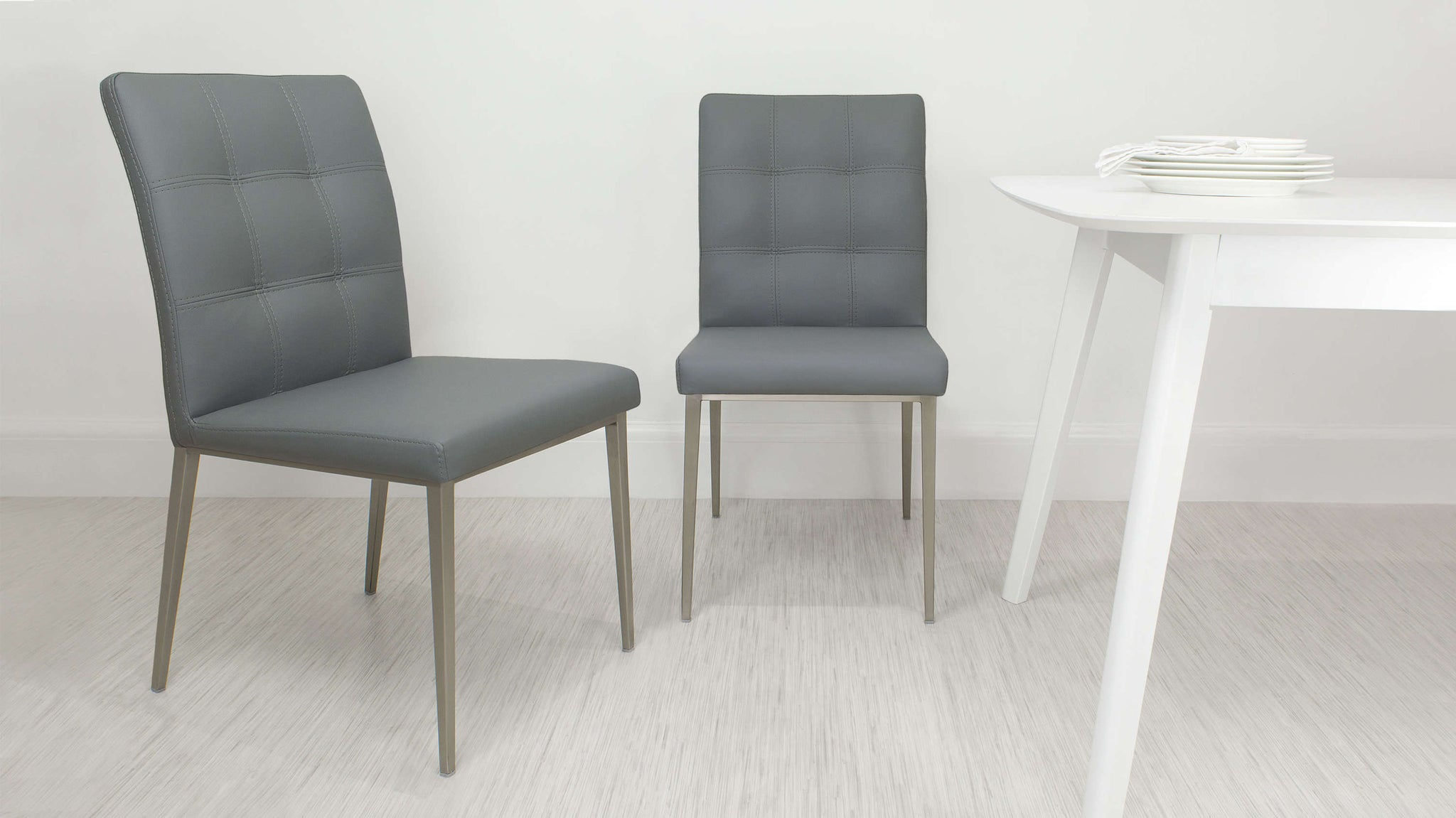Modern Light Grey Padded Dining Chair