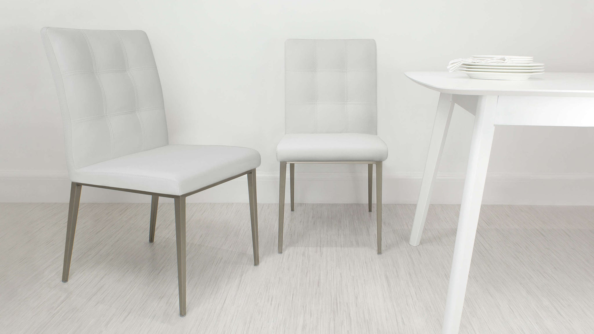 Modern White Padded Dining Chair