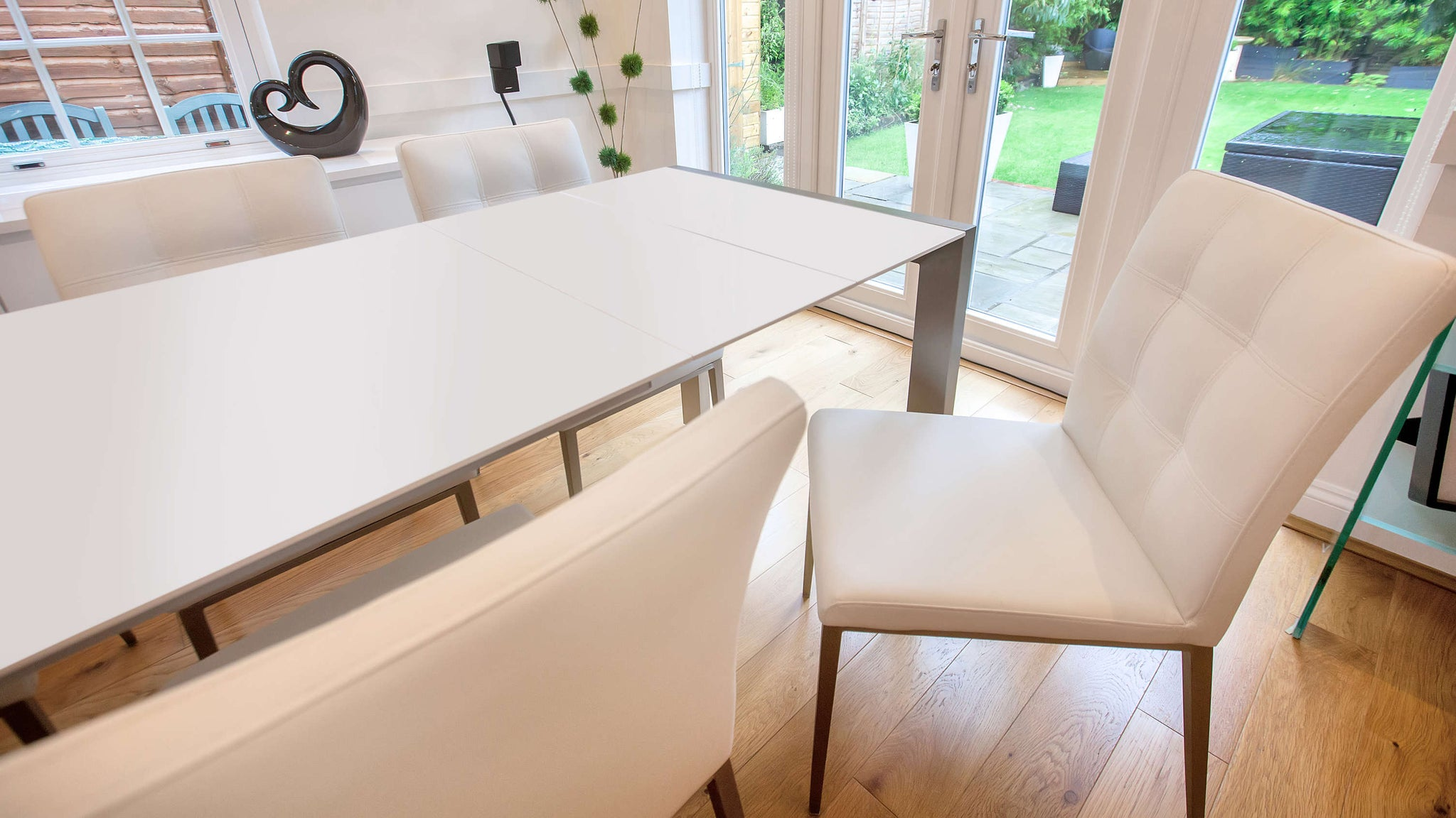 Comfortable Dining Chairs and White Extending Dining Table