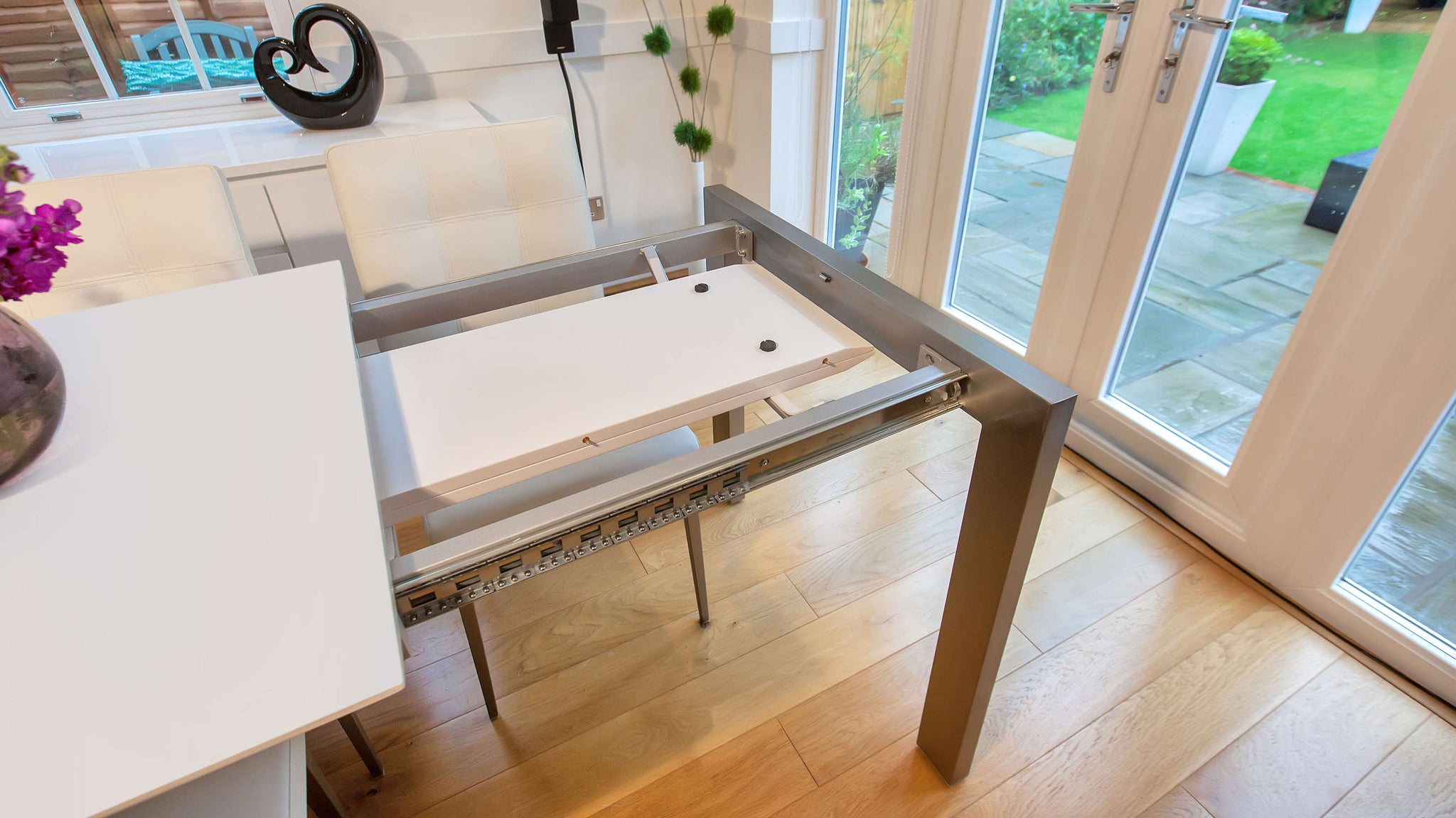 Extending Dining Table with Extension Storage