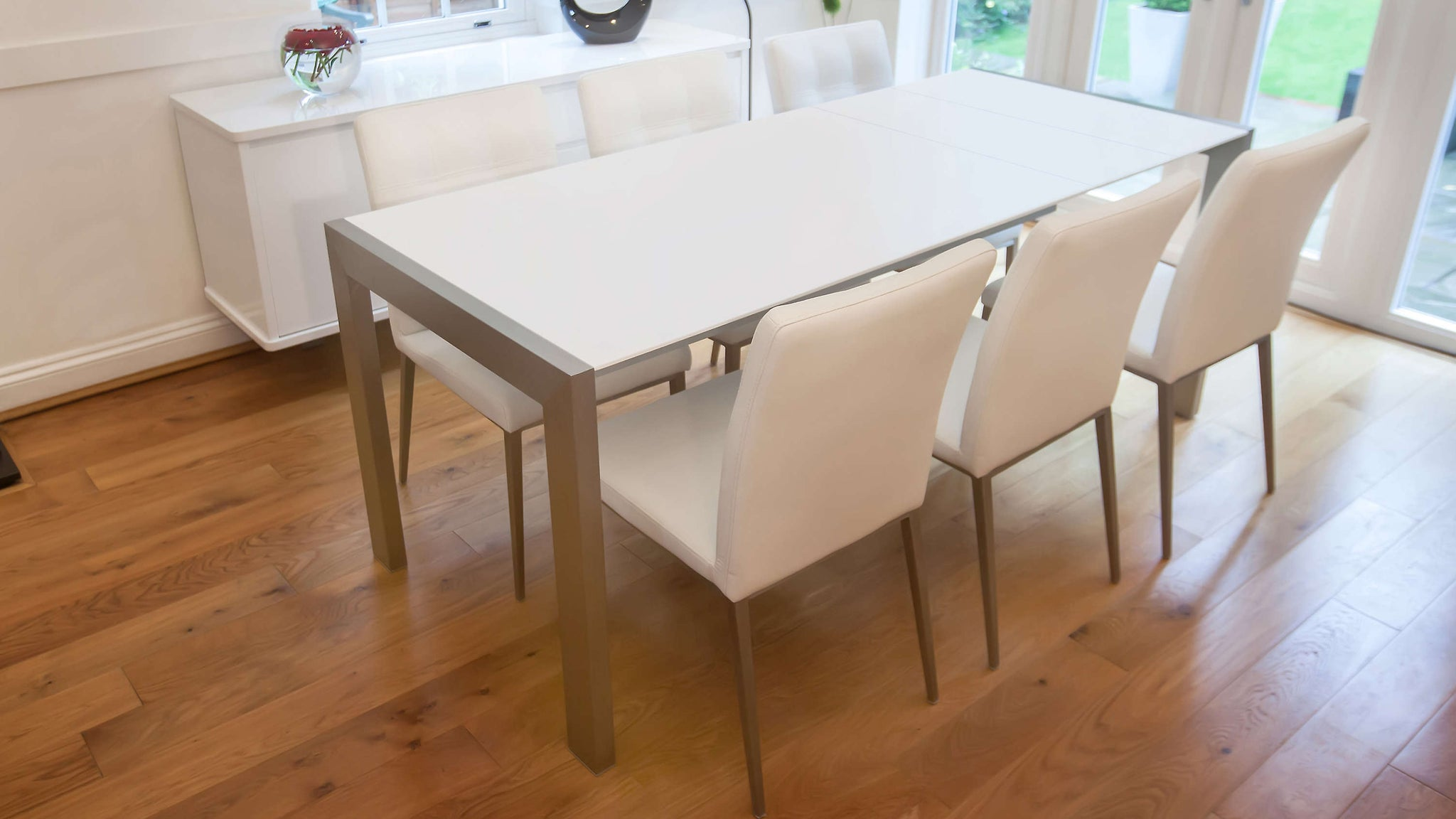 4-8 Seater Matt White Double Extending Dining Table