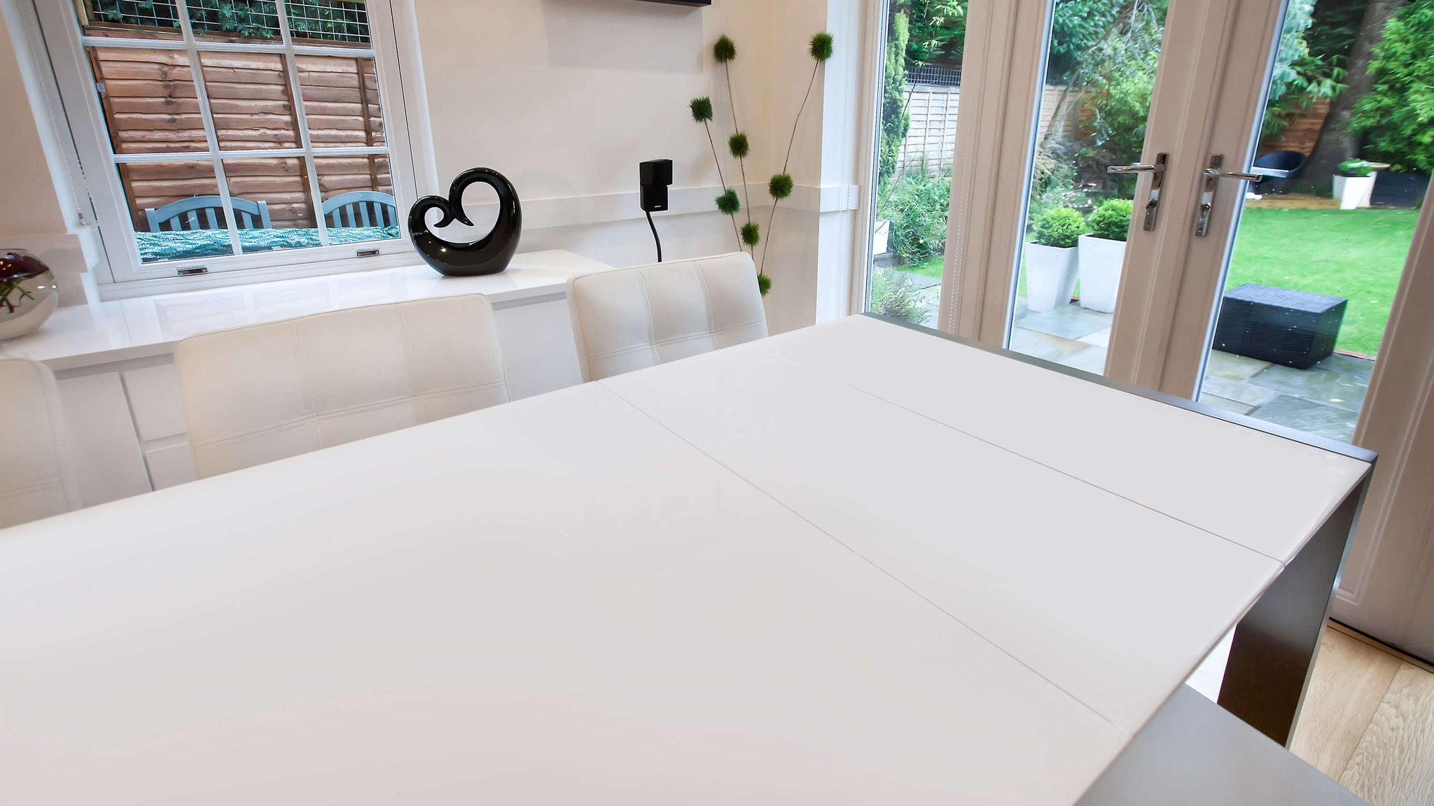 Stylish White Double Extending Dining Table