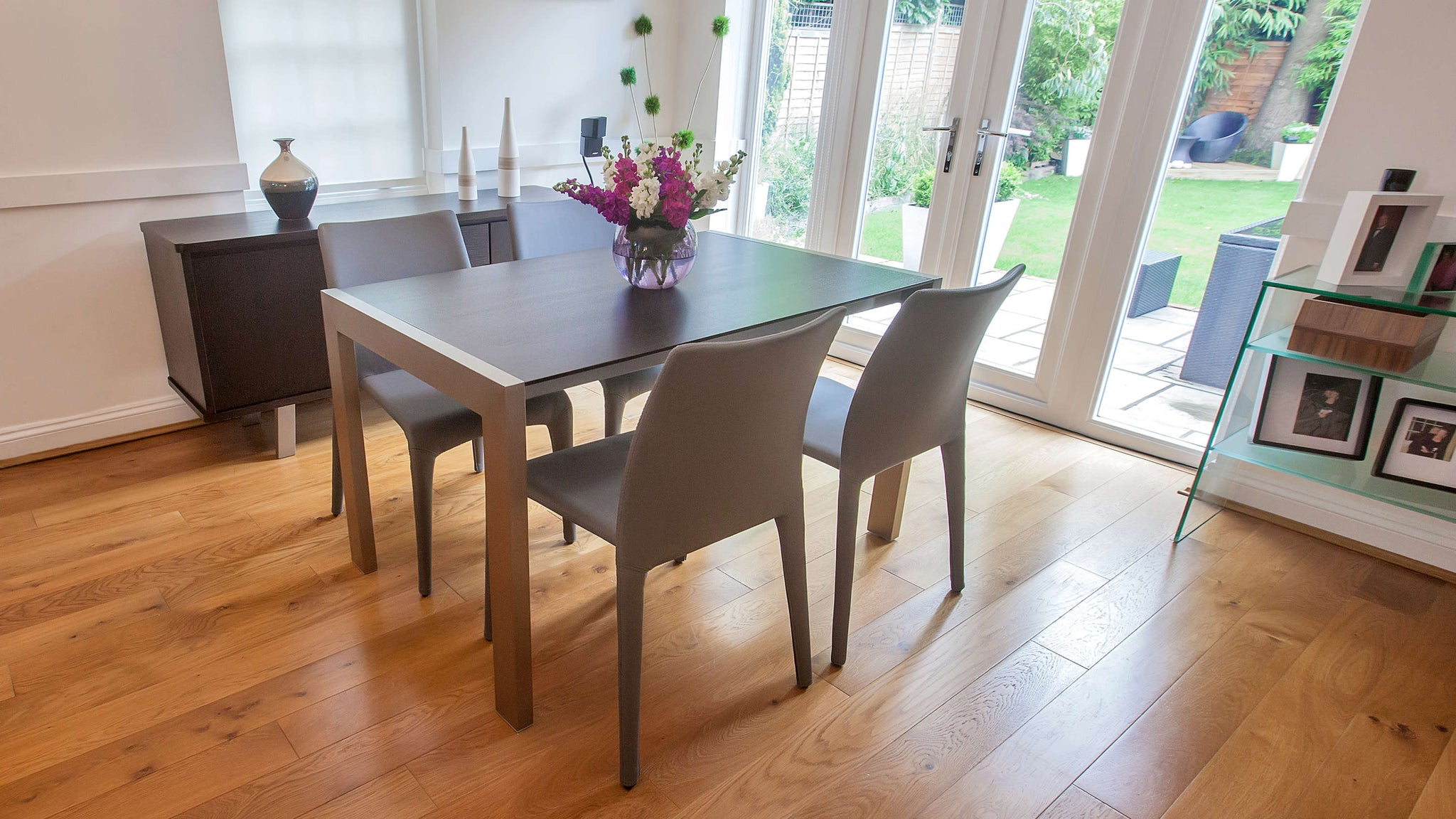 Modern Dark Wood and Grey Dining Set