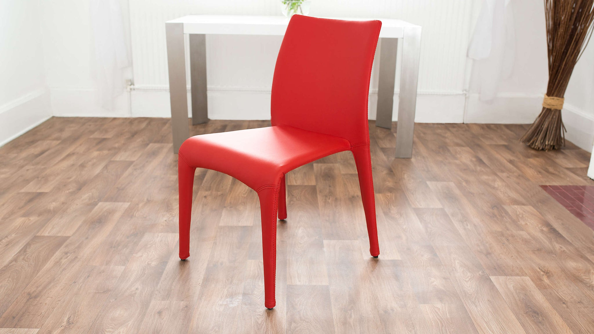 Red Leather Stackable Dining Chair