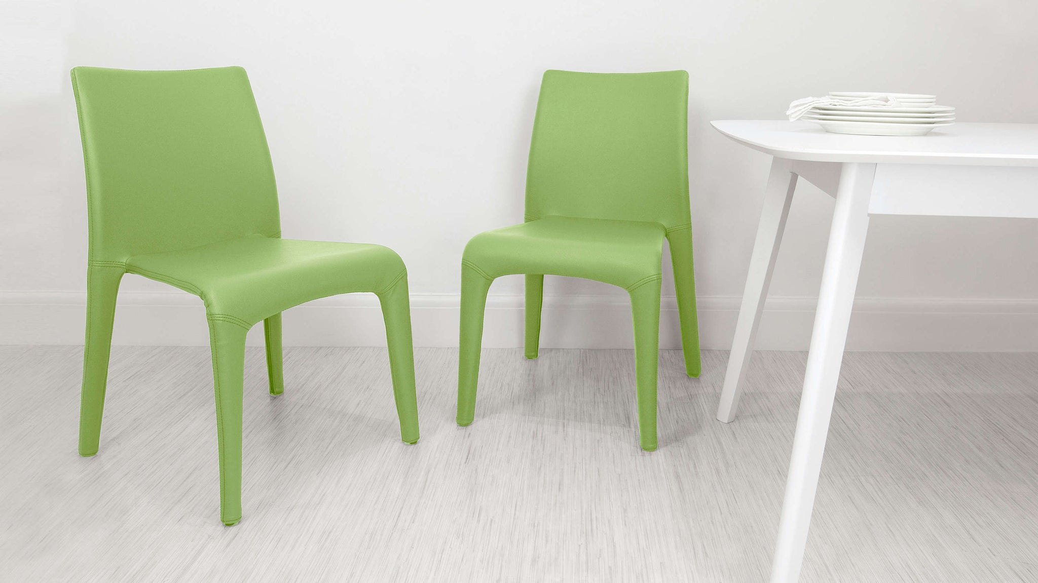 Contemporary Light Green Dining Chairs