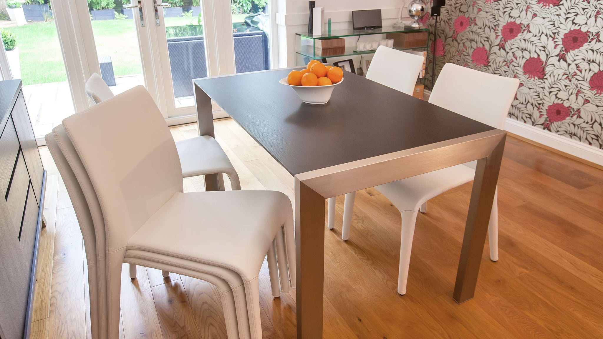 Contemporary Wenge Dining Table and White Stackable Dining Chairs
