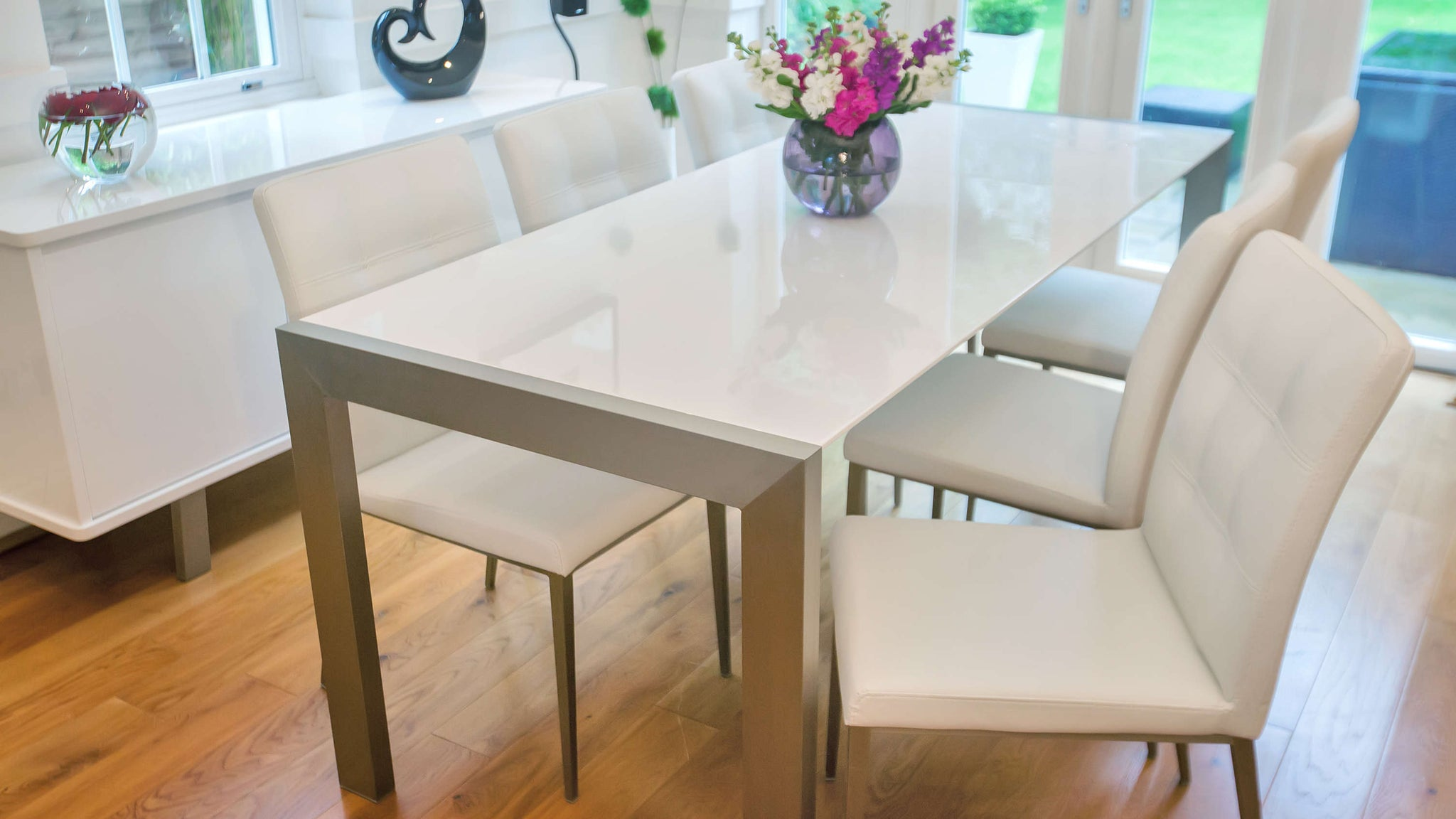 4-8 Seater White Gloss Extending Dining Table and White Chairs