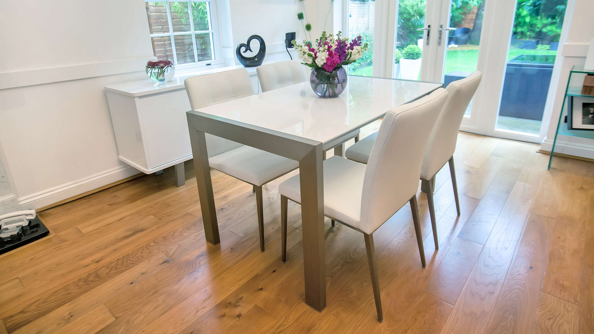 White Gloss and Brushed Metal Dining Set