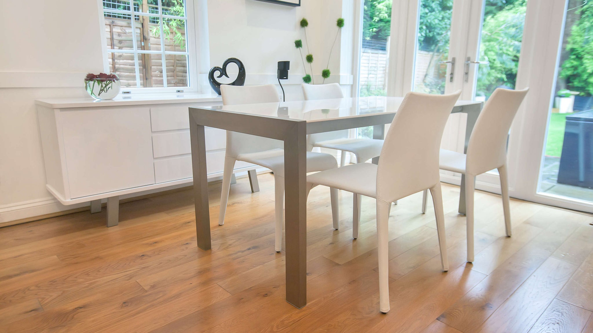 Rectangular White Gloss Extending Dining Table with Metal Legs