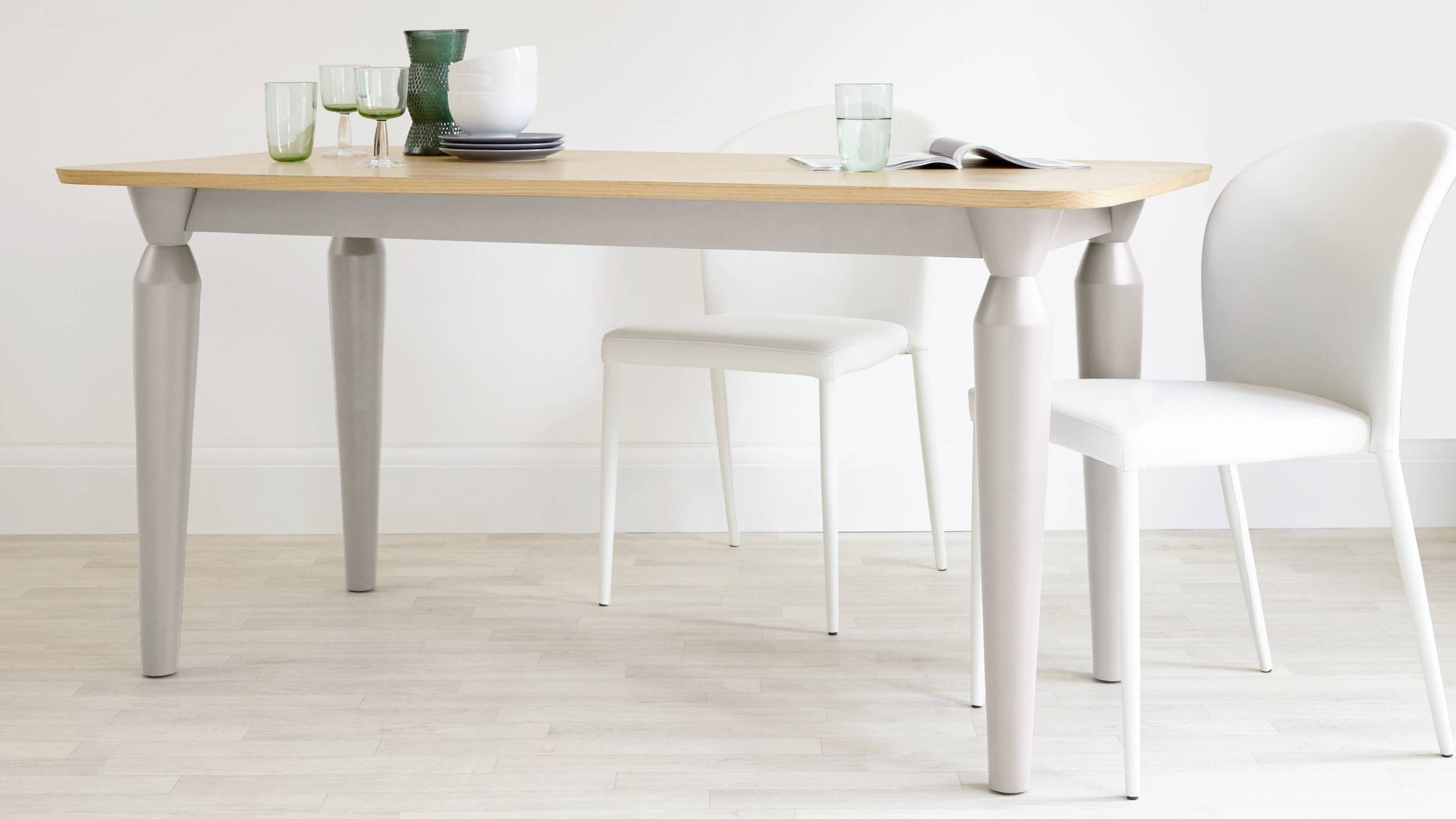 modern grey dining table six seater