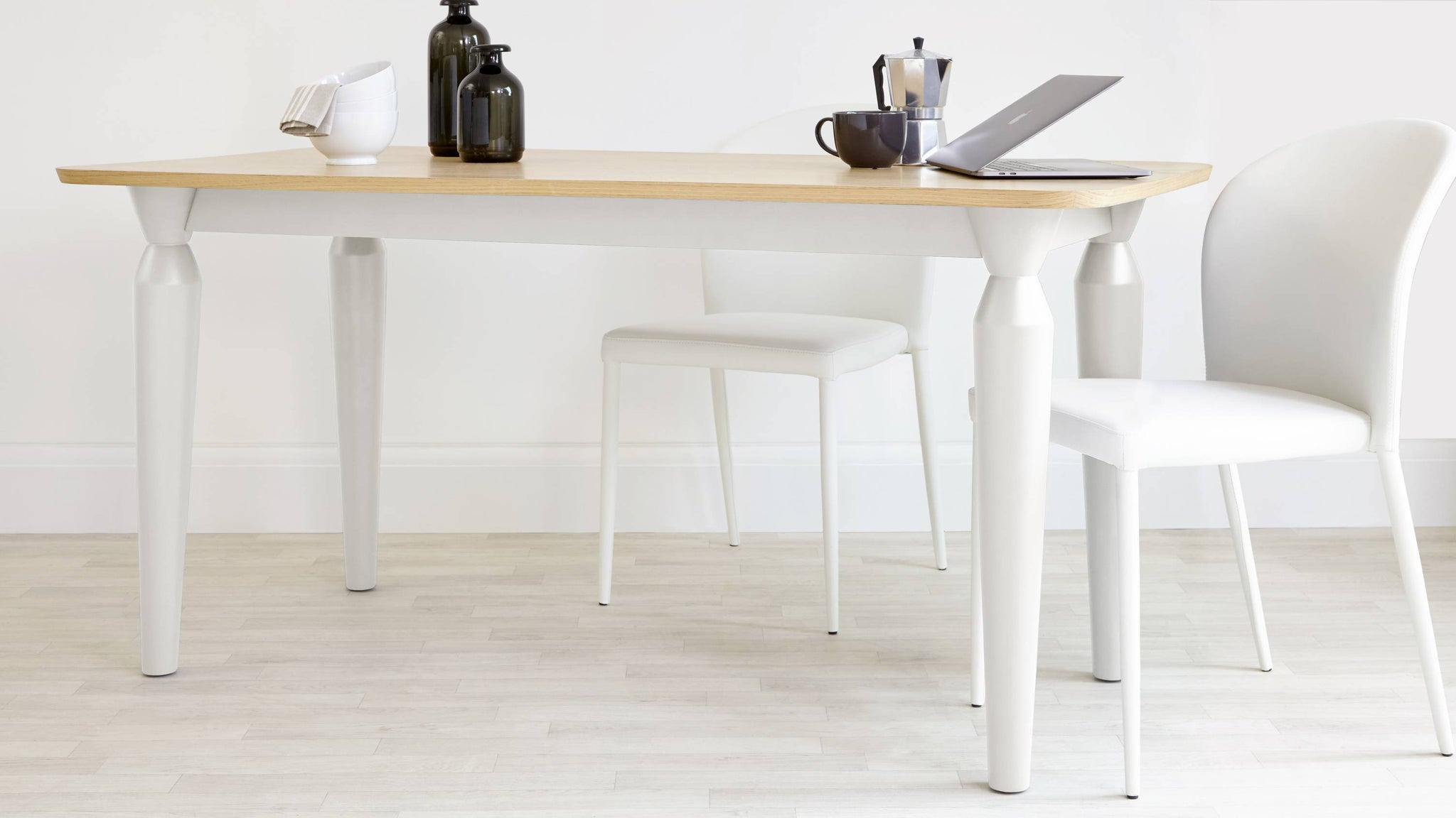 White table with Oak Top