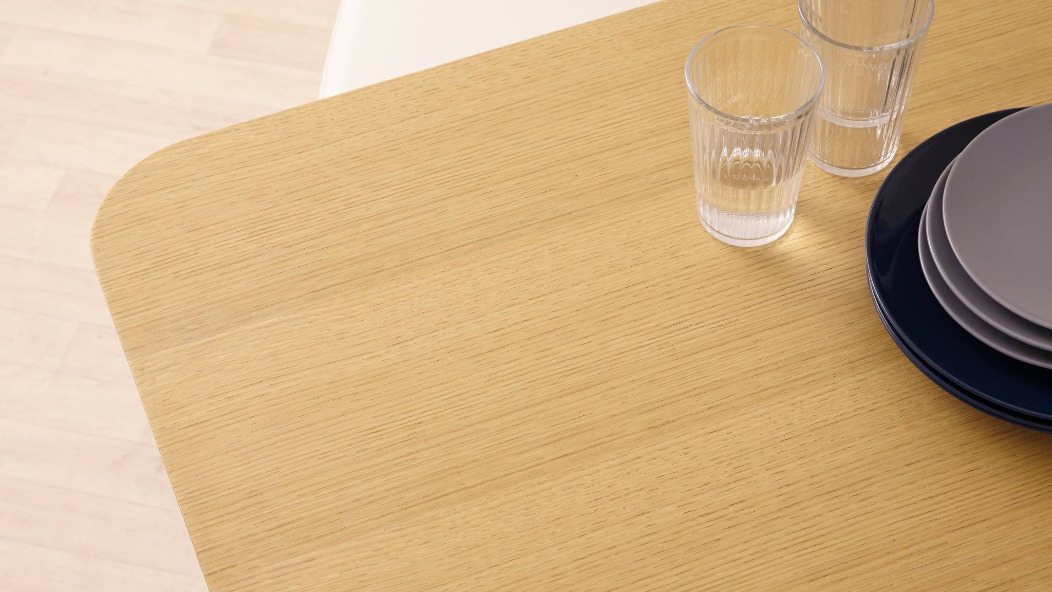 modern dining table with oak top