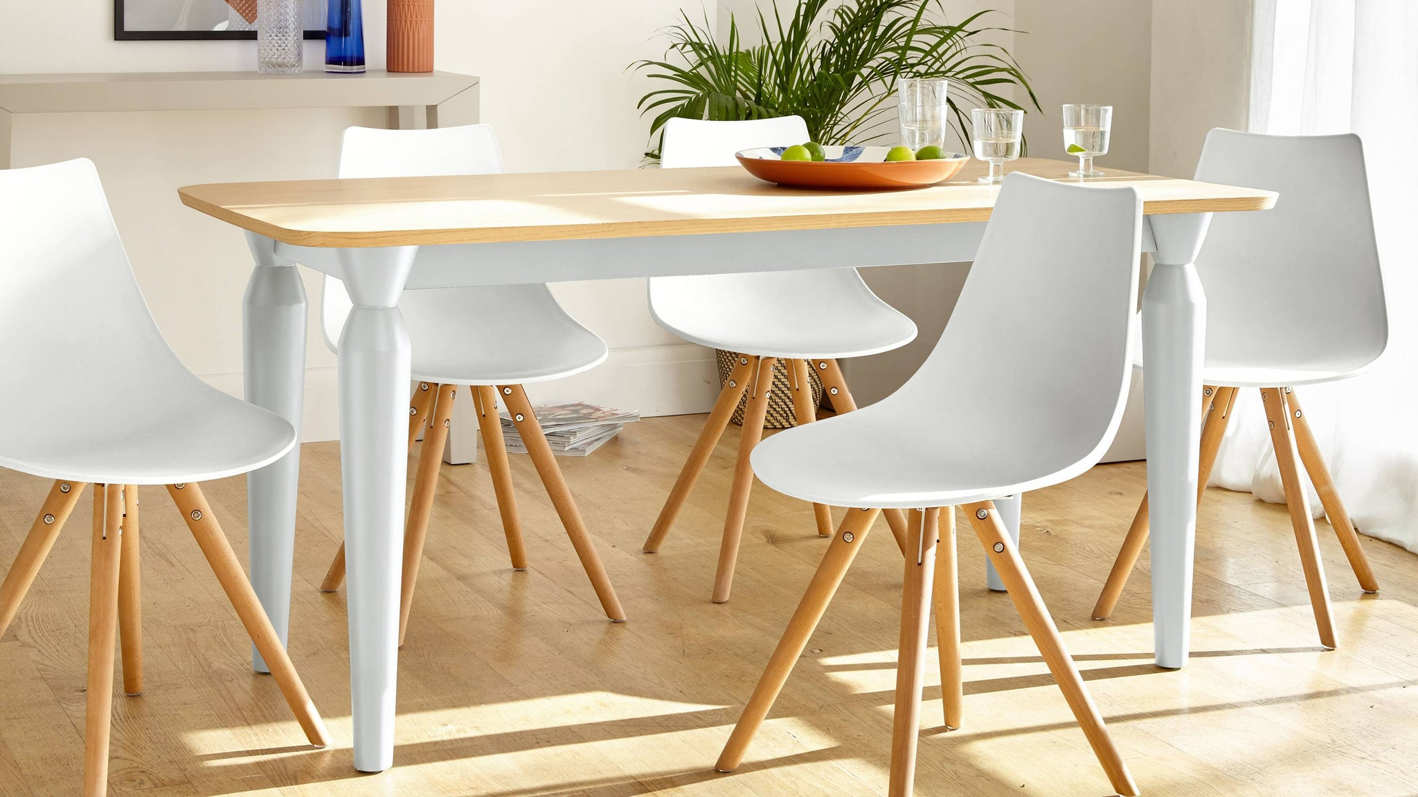 Matt white and wood modern country table