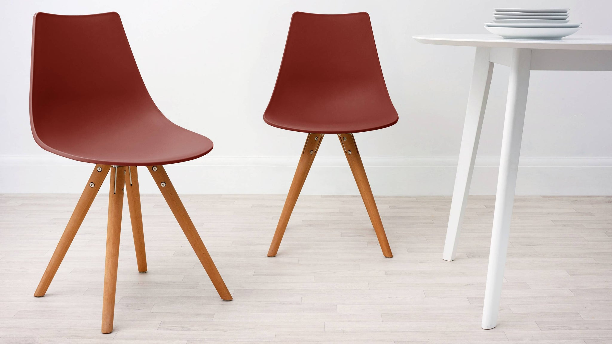 Brick Red Modern Plastic Dining Chair