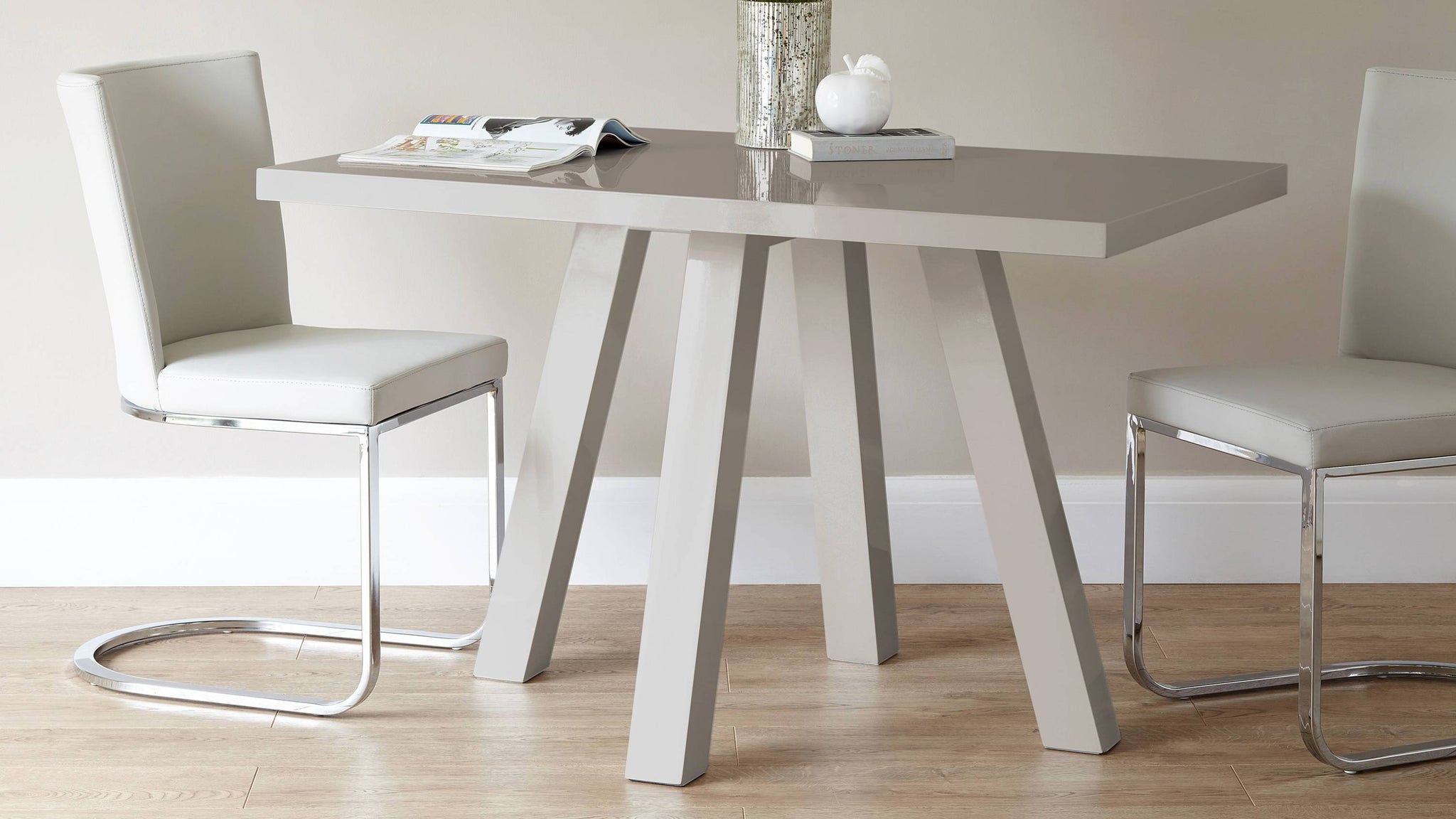 Exclusively Danetti with Julia Kendell grey gloss dining table