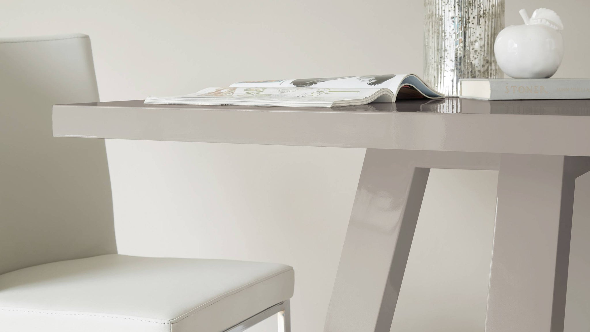 high grey gloss dining table from the Exclusively Danetti with Julia Kendell range