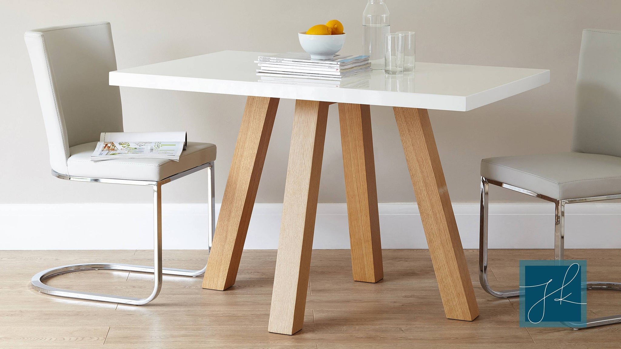 white gloss and wood veneer dining table Exclusively Danetti with Julia Kendell