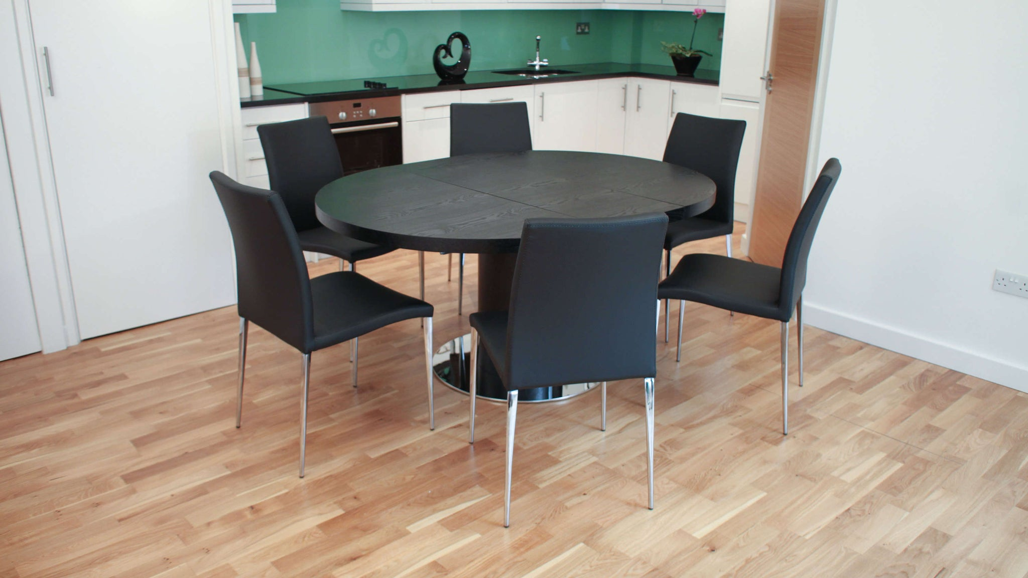 Modern Black Wood Veneer Extending Dining Table