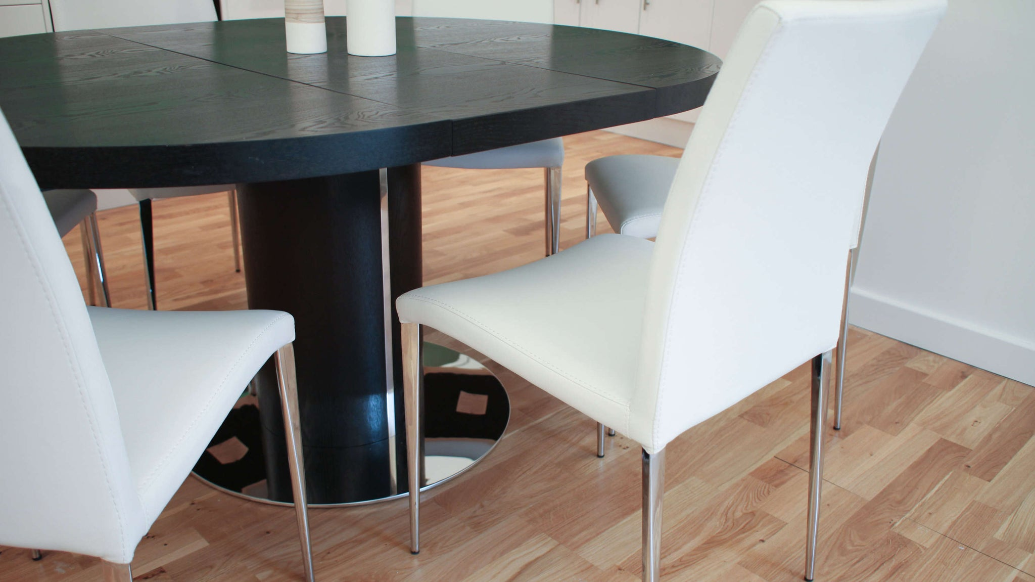 Black Wood Veneer and Chrome Dining Set