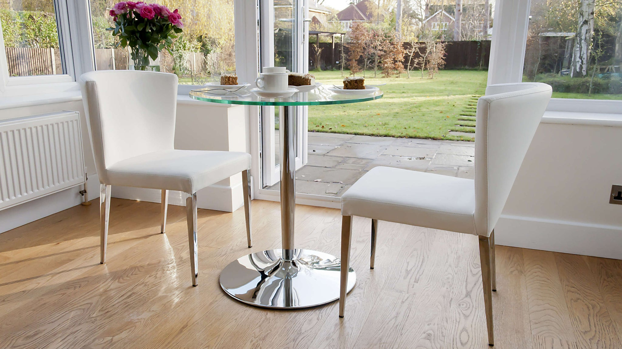 Contemporary White Dining Chairs with Chrome Legs