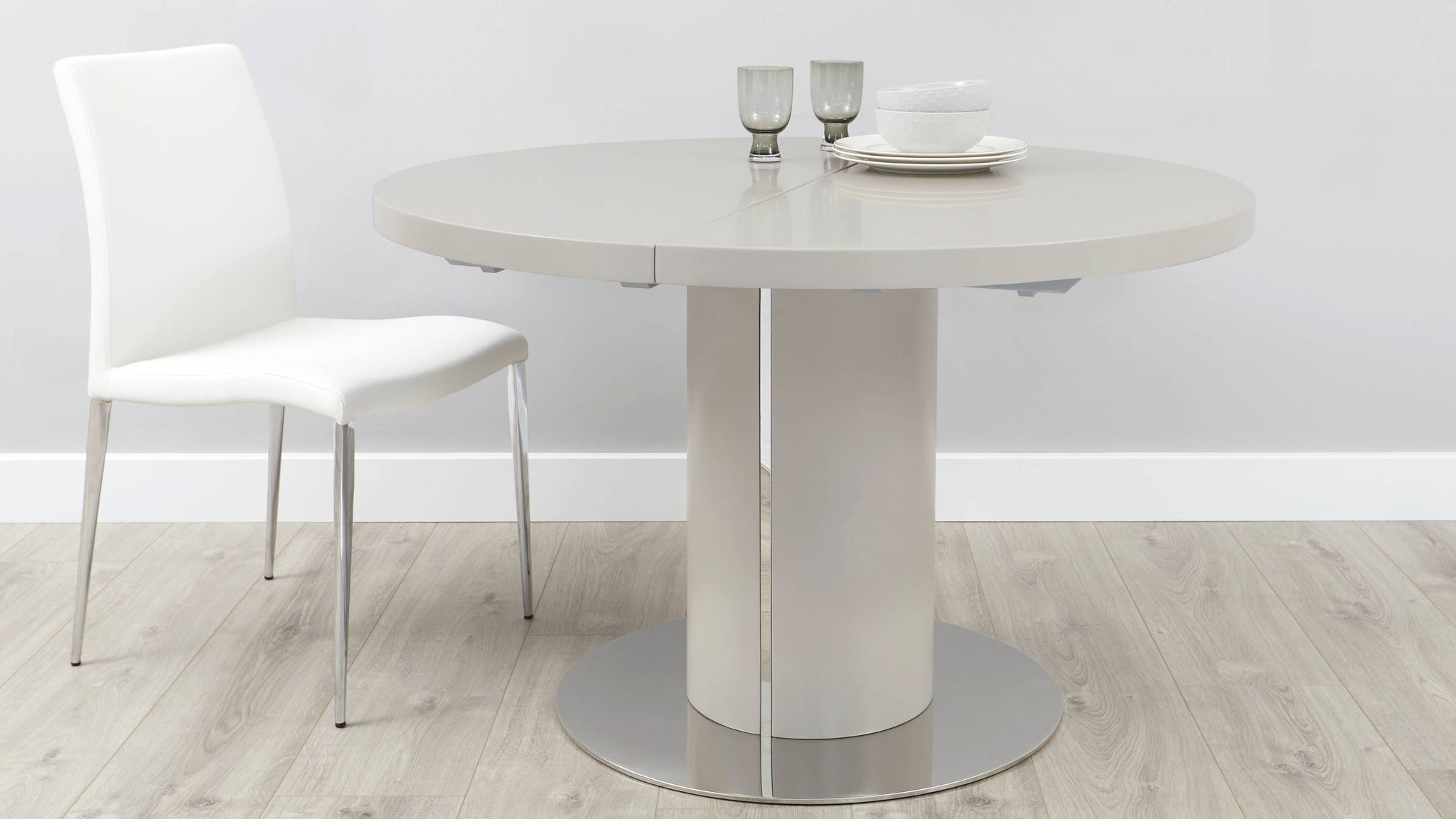 Curva Matt Grey Extending and Theo Dining Set