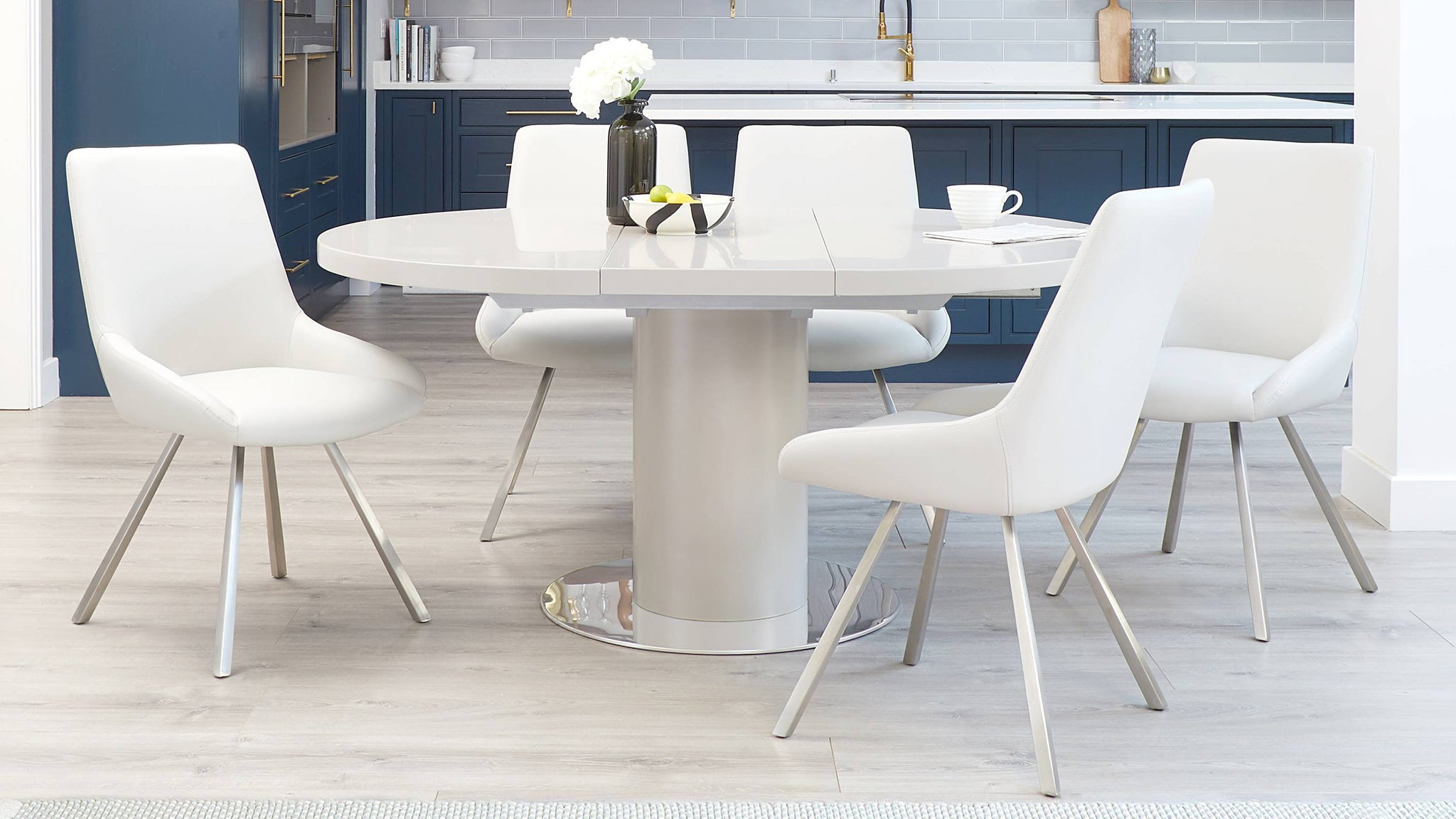 Matt grey extending dining table set