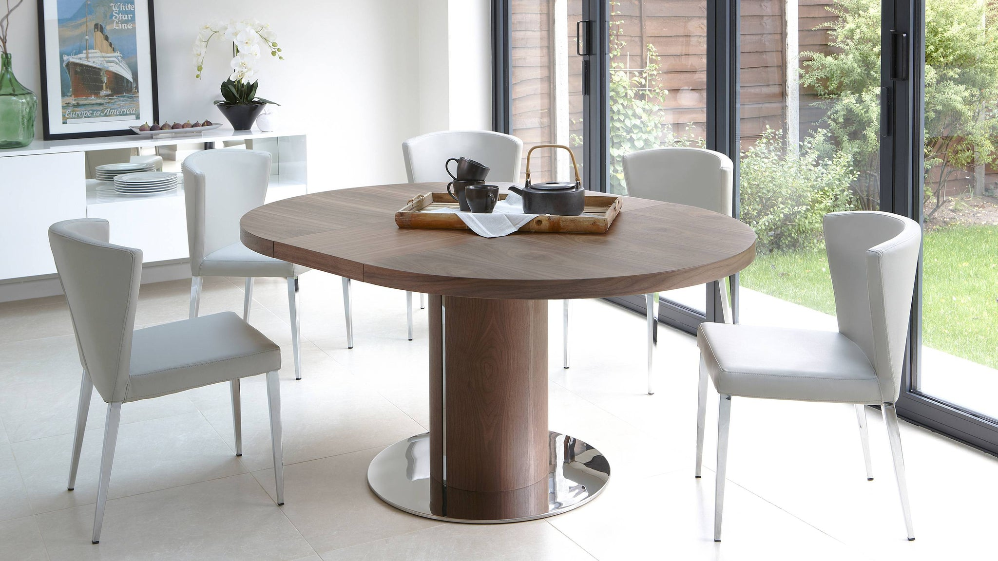 Contemporary Beige and Wooden Extending Dining Set UK