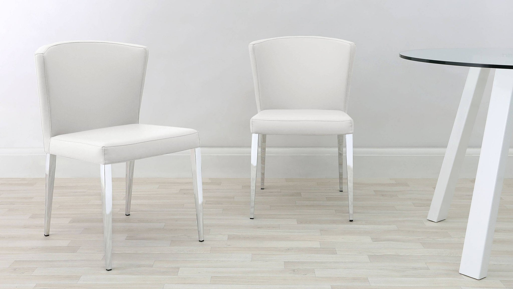 Chrome and White Dining Chairs