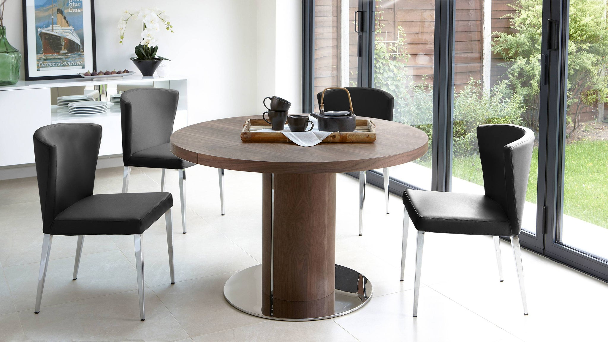 Black Leather and Walnut Extending Table Set