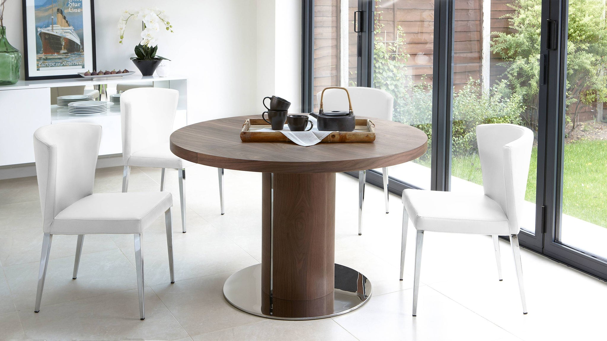 White Modern Leather dining set UK delivery