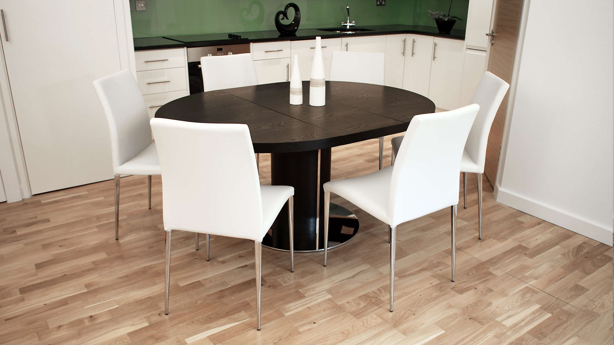 Stylish White Faux Leather, Dark Wood Wenge and Chrome Based Extending Dining Set