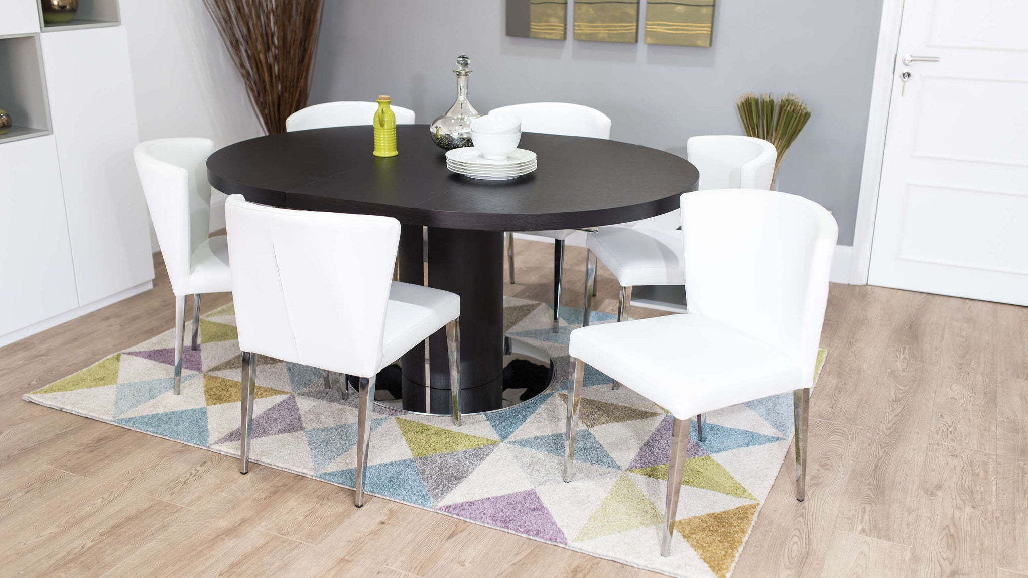 Modern White Dining Chairs and Wenge Oval Extending Table