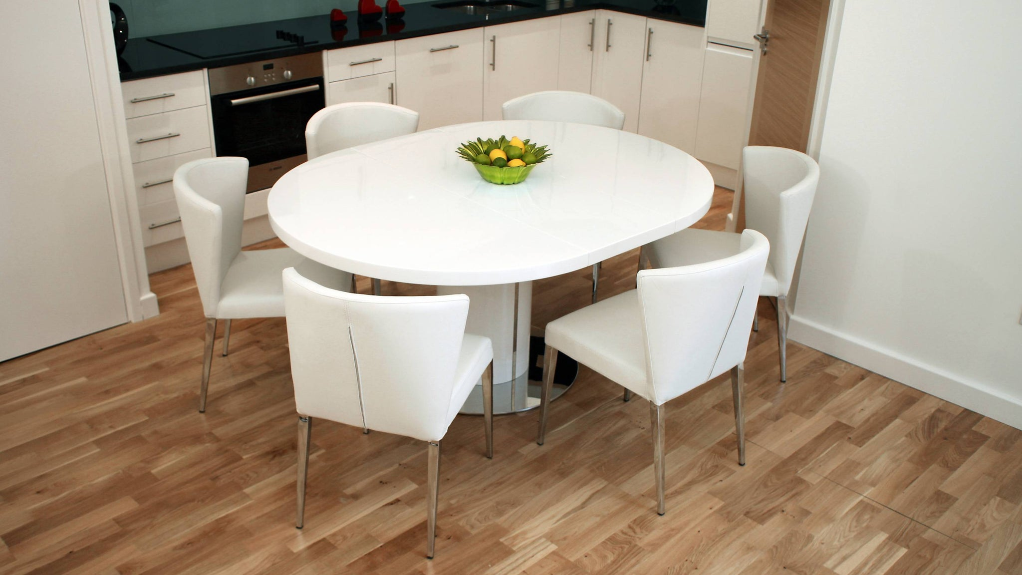 Round White Gloss Extending Dining Set