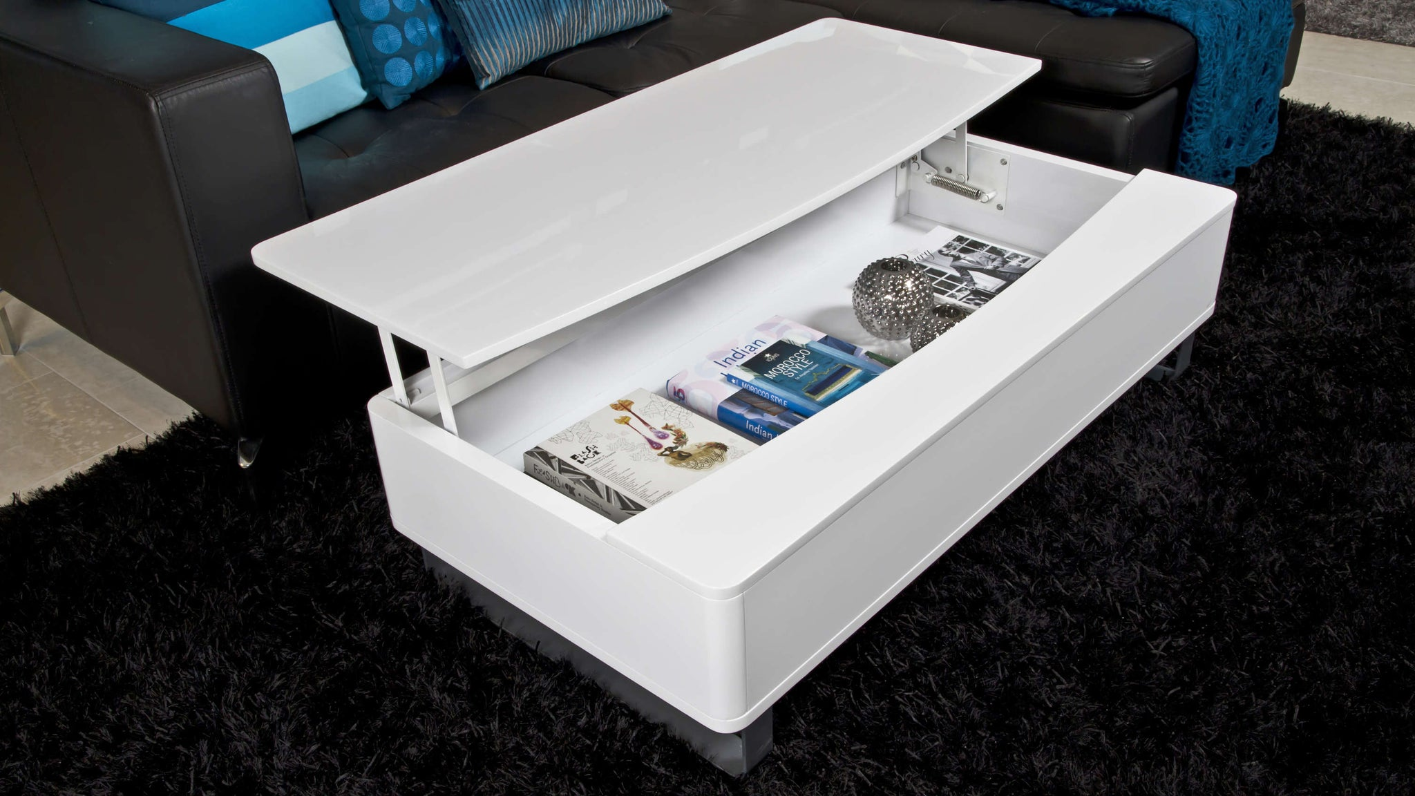 White Coffee Table with Large Storage