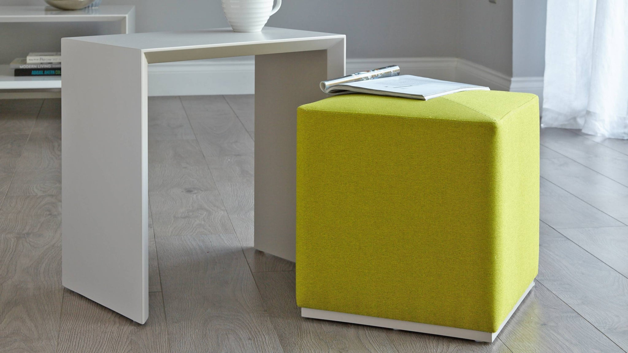 Modern grey side table with stool