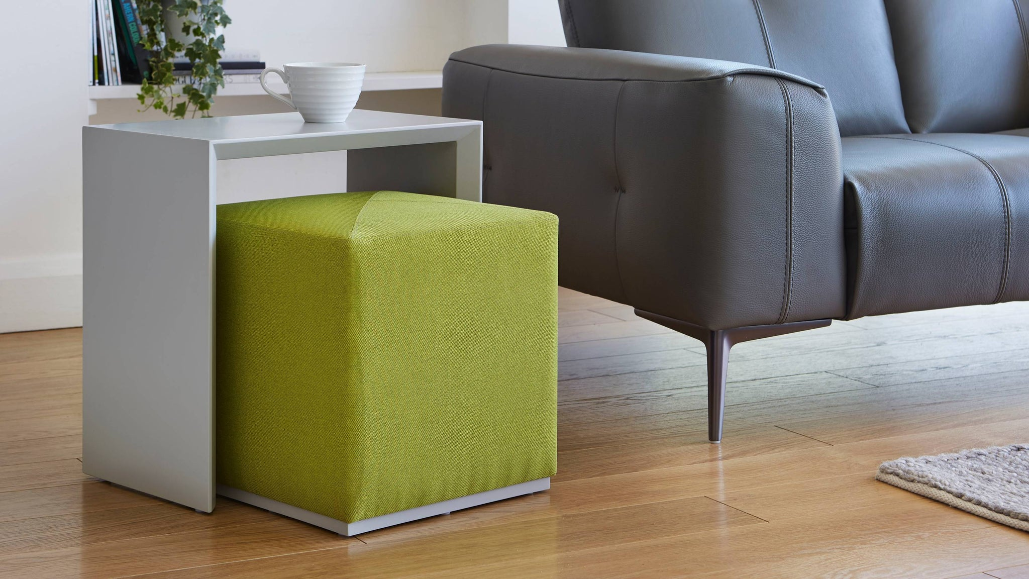 Matt grey and green side table