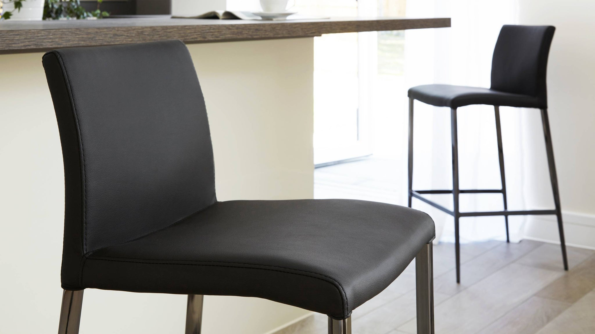Fixed height black leather barstools | UK Delivery
