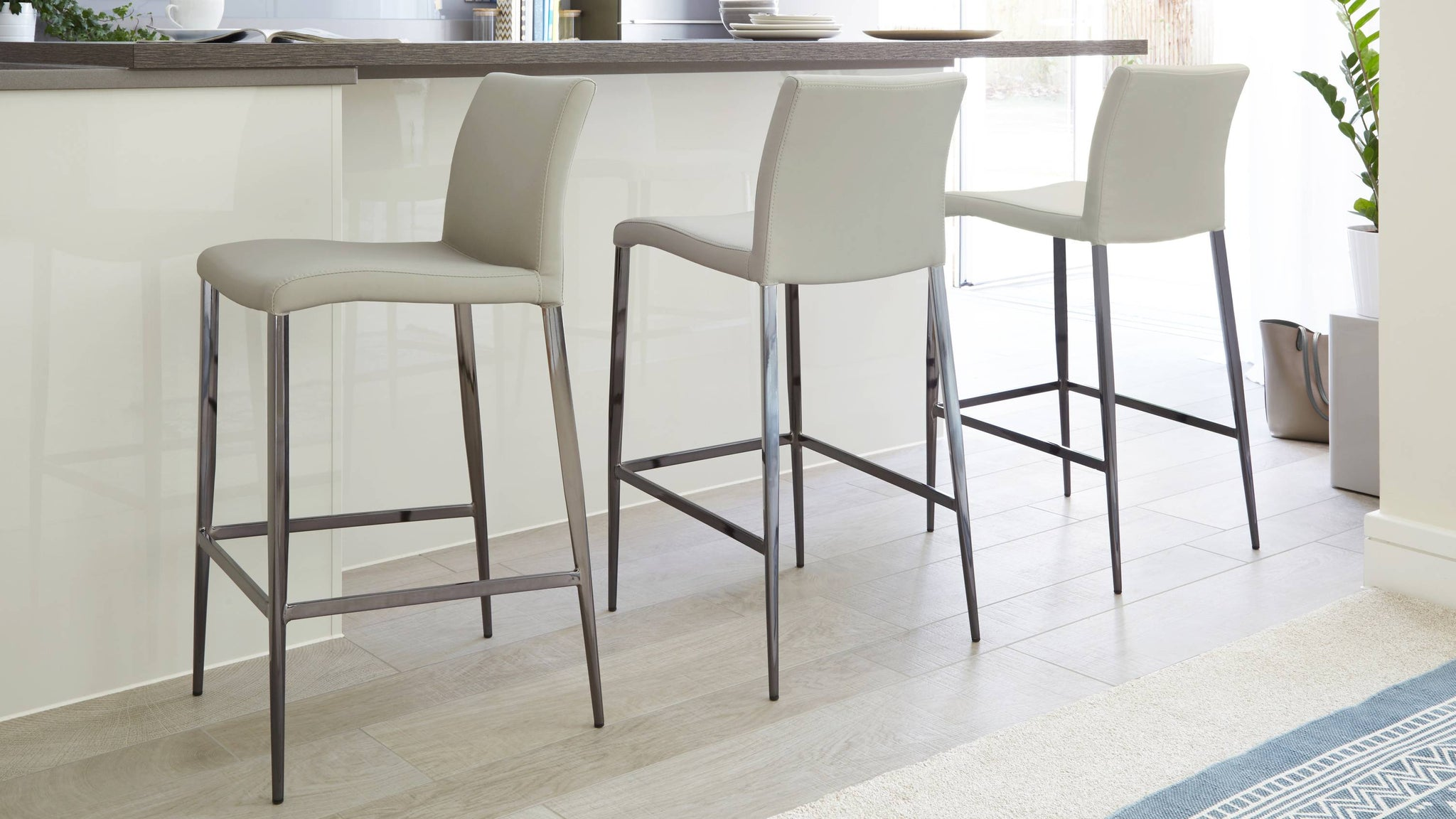Modern Grey Leather Barstools | UK Delivery