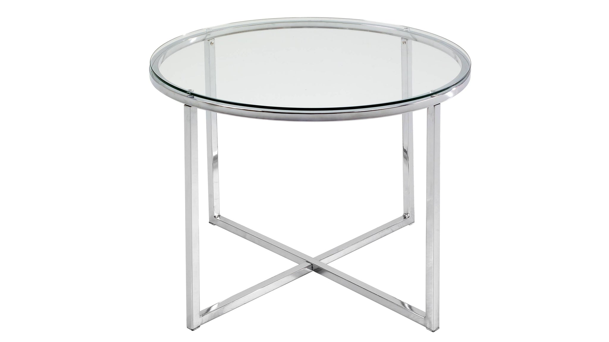 clear glass and chrome side table with cross base