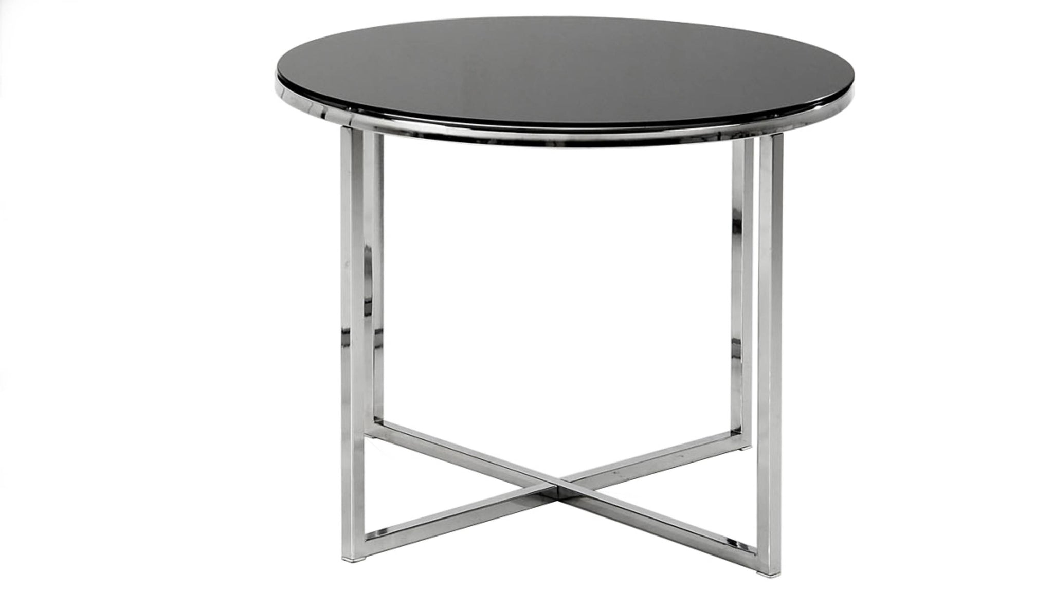 black glass round side table with cross chrome base