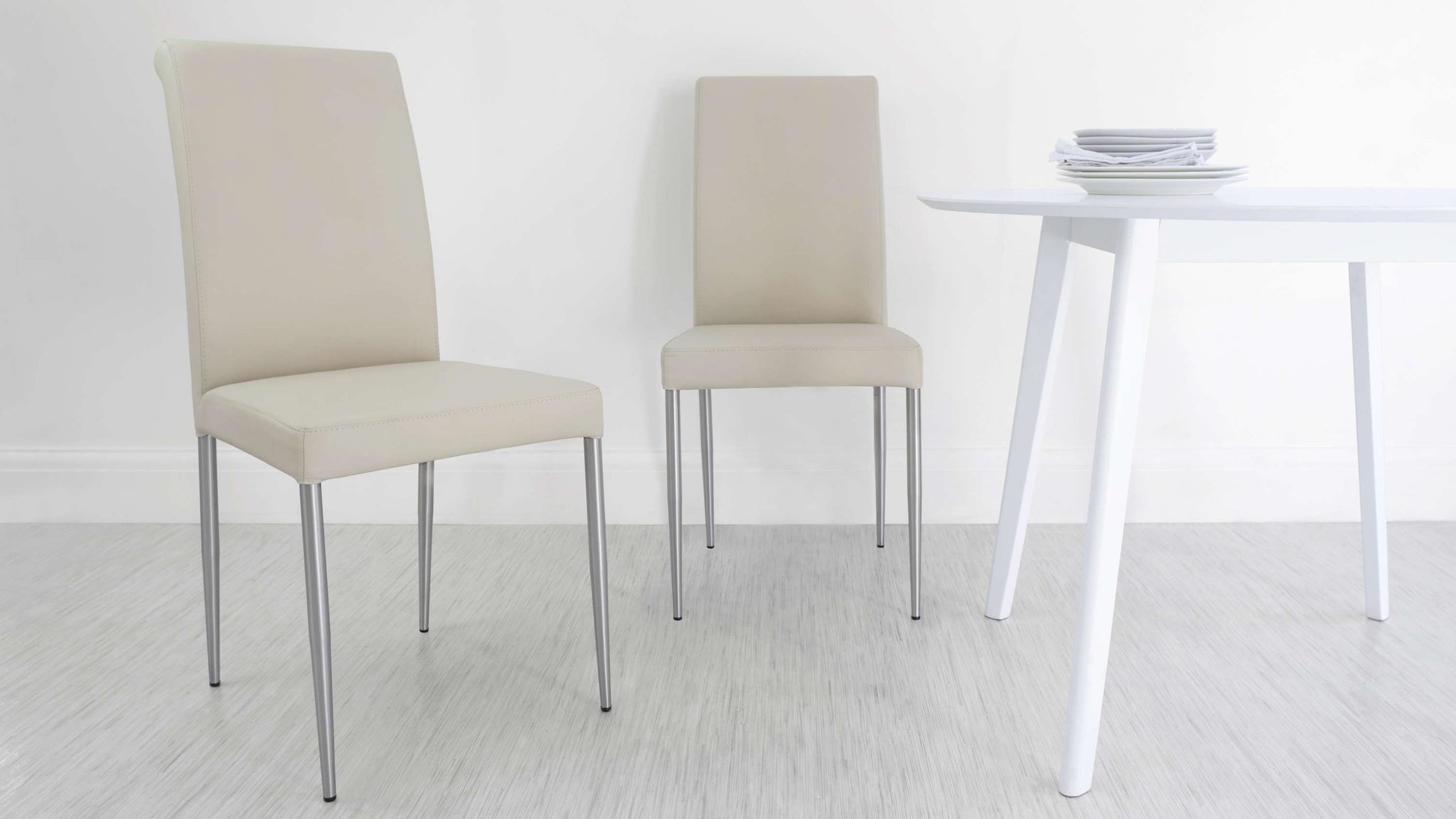 Padded Cream Real Leather Dining Chairs