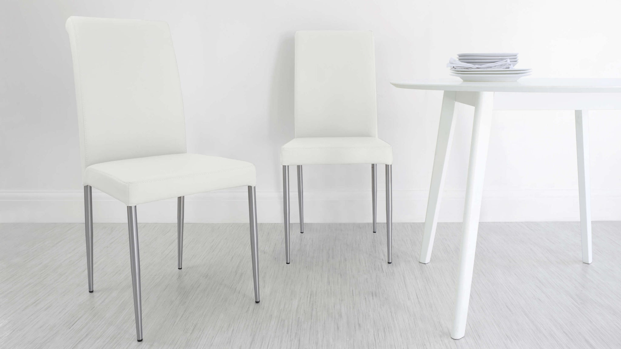 Padded White Real Leather Dining Chairs