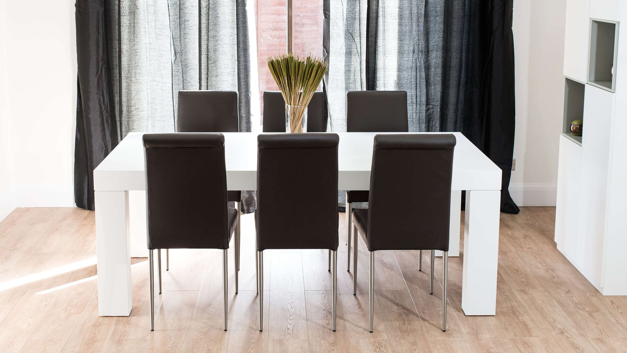 Modern Brown Real Leather and White Wooden Dining Set
