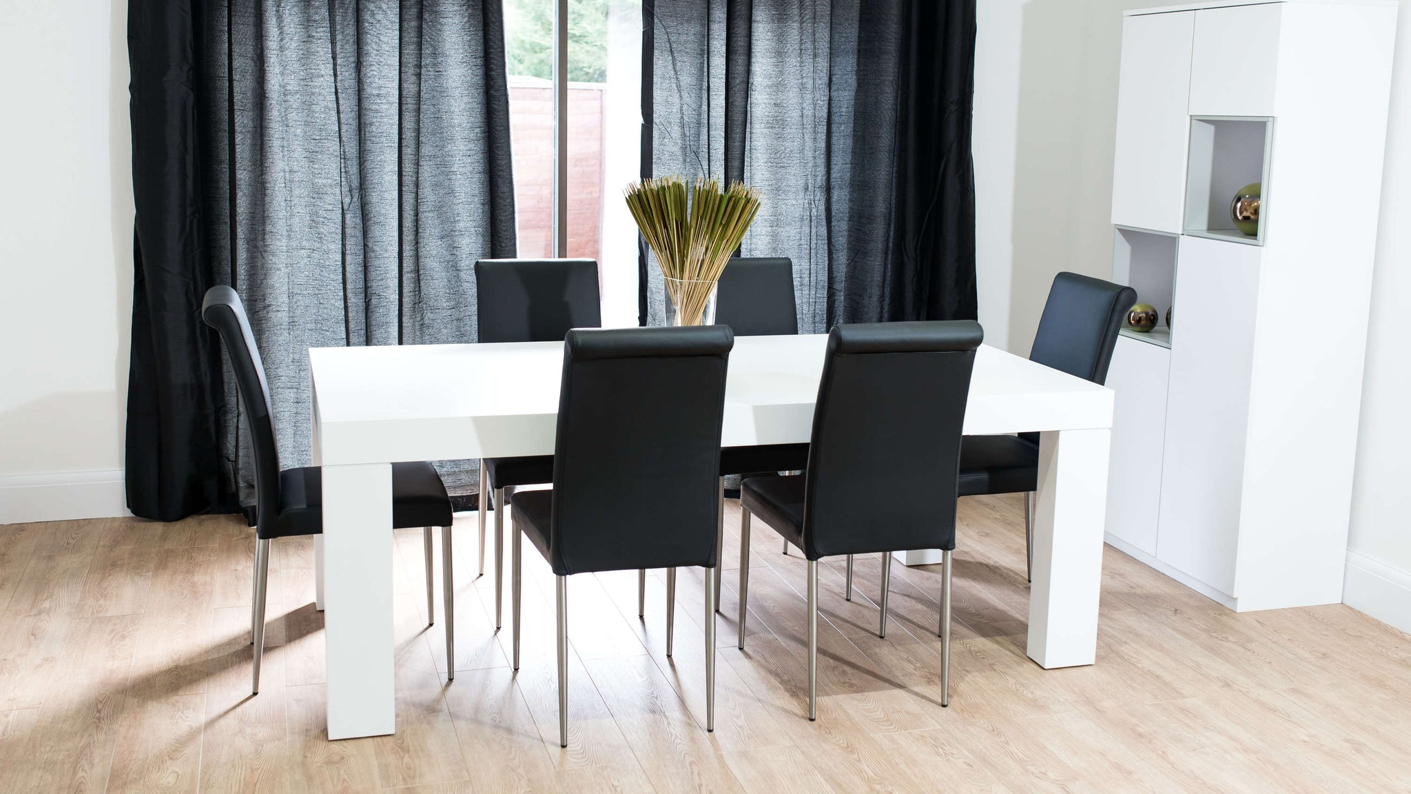 Large Dining Table and Brushed Metal Legged Dining Chairs