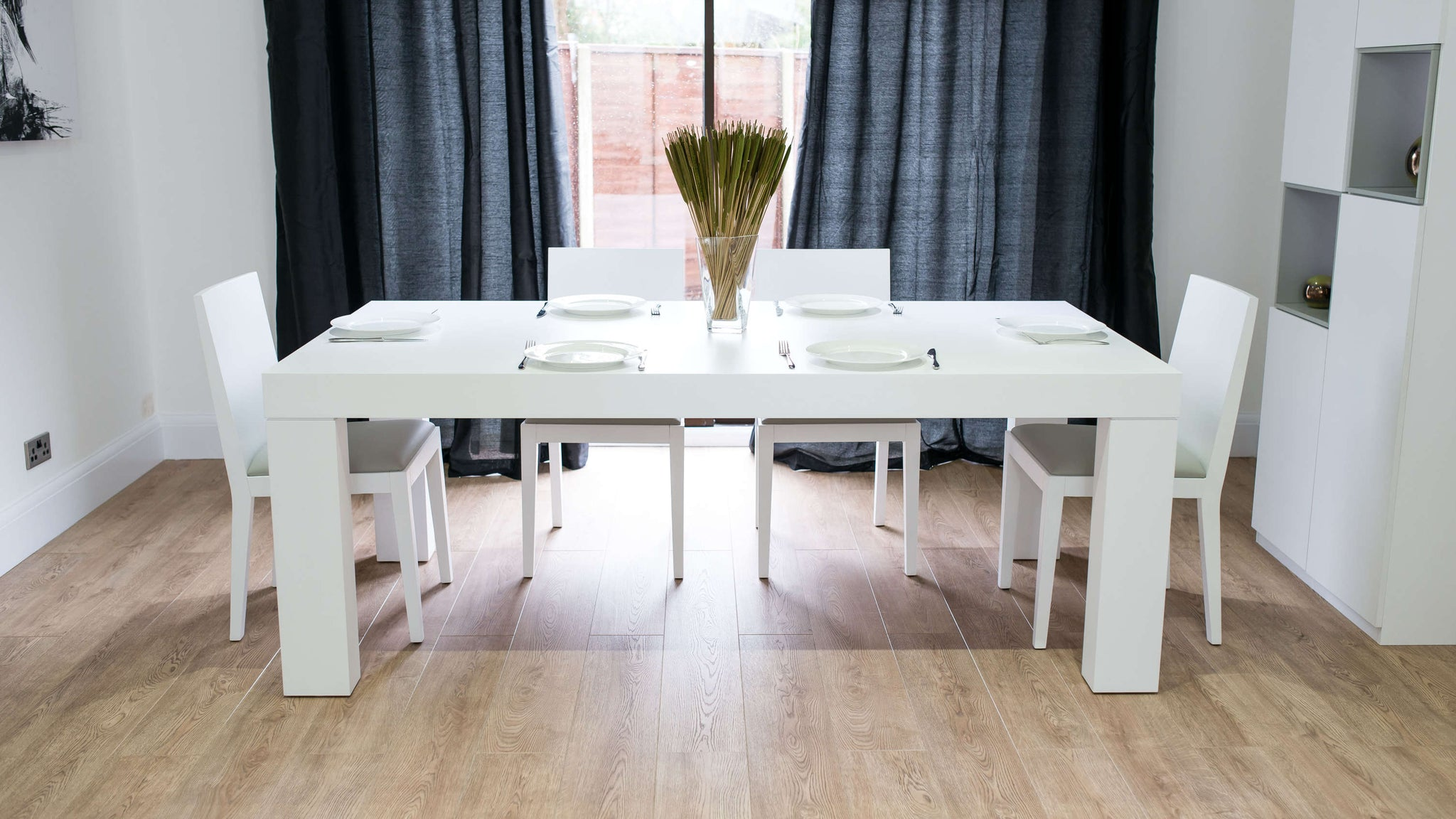 Large Rectangular White Dining Table and Dining Chairs