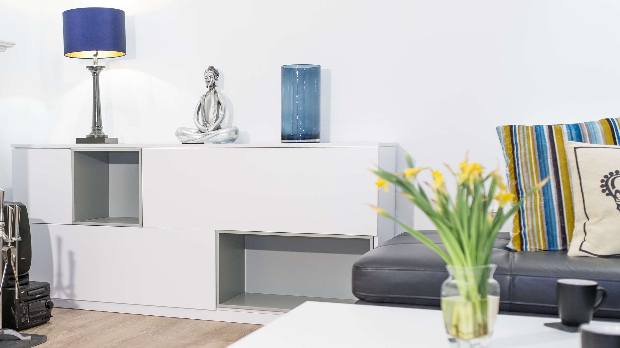 Modern White Wooden Sideboard with Display Sections