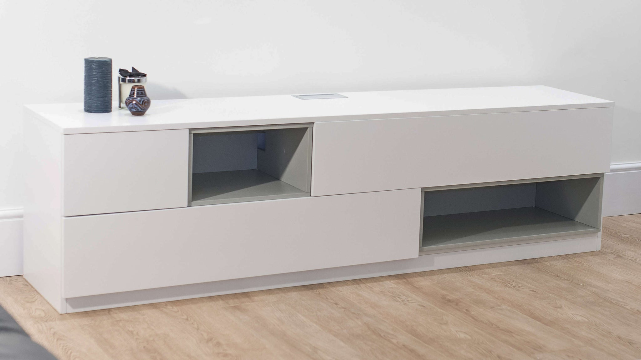 Large White Wooden TV Unit with Storage Space